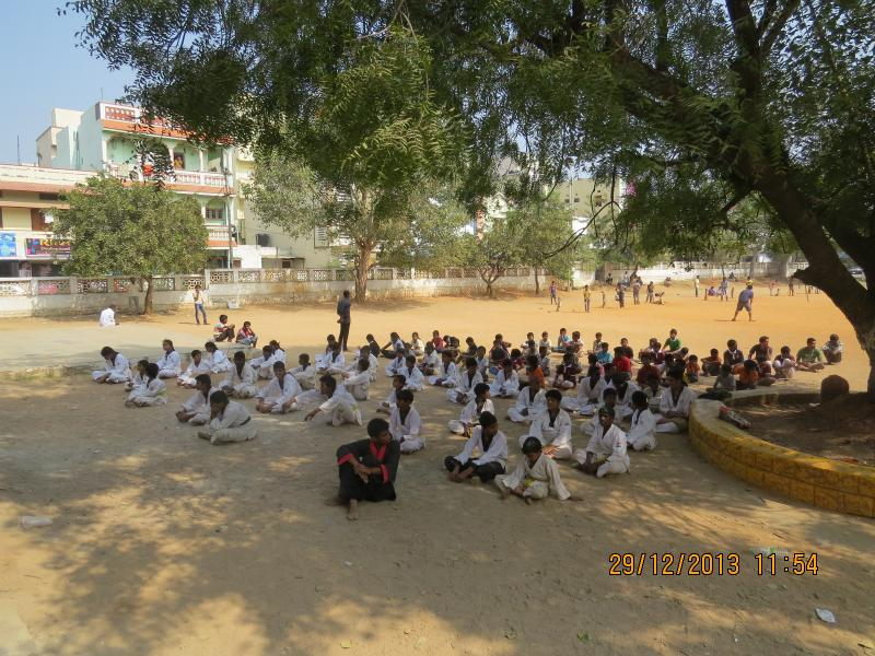 Karate students relaxing